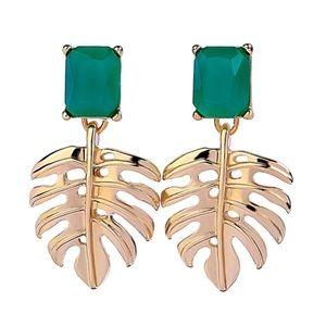 Anthropologie Gold Monstera Leaf Earrings